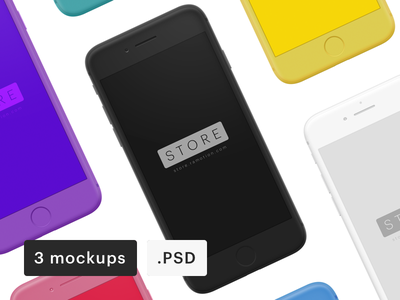 Iphone clay frontal mockups psd