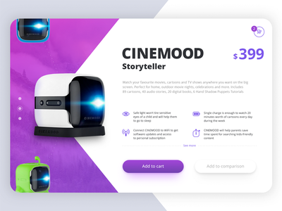 Cinemood Product Card Concept device radial scroll user experience cart pictogram ecommerce online shop product card portable projector interface layout concept design ux ui