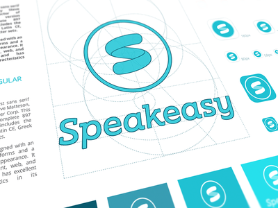 Speakeasy Branding Process speakeasy word mark company style guide product sign logo construction brand identity design greyscale logotype meeting room service color palette brand book branding curved shape mark app icon