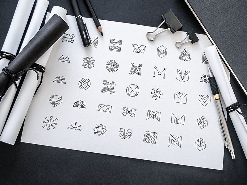 Mobingi Sketching Phase [Stage 1] branding shapes work in process wip ios app logo icon sketches identity brandbook shape web application logo design logotype work branding ramotion style guide geometrical shapes