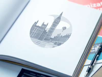 London Illustration illustration branding design big ben london cityscape graphic printing book paper print style testing soft colors color palette flat style building atmosphere balloon watch river