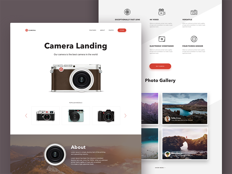 Camera Landing Page Layout image gallery e-commerce product interface interaction ux ui web layout webstie design lens photo pictogram set animated icons landing page camera promo