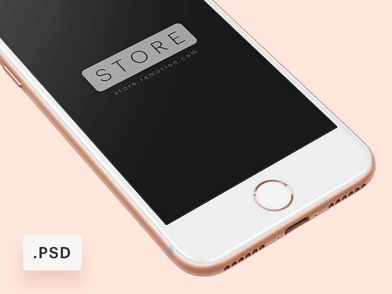 iPhone 8 Free Mockup [PSD] store ramotion 8 psd free download white device template ux ui mockup photoshop psd mockup mobile application marketing three app mockups interface design templates colors a9 app front frontal render iphone 8 perspective apple iphone angle