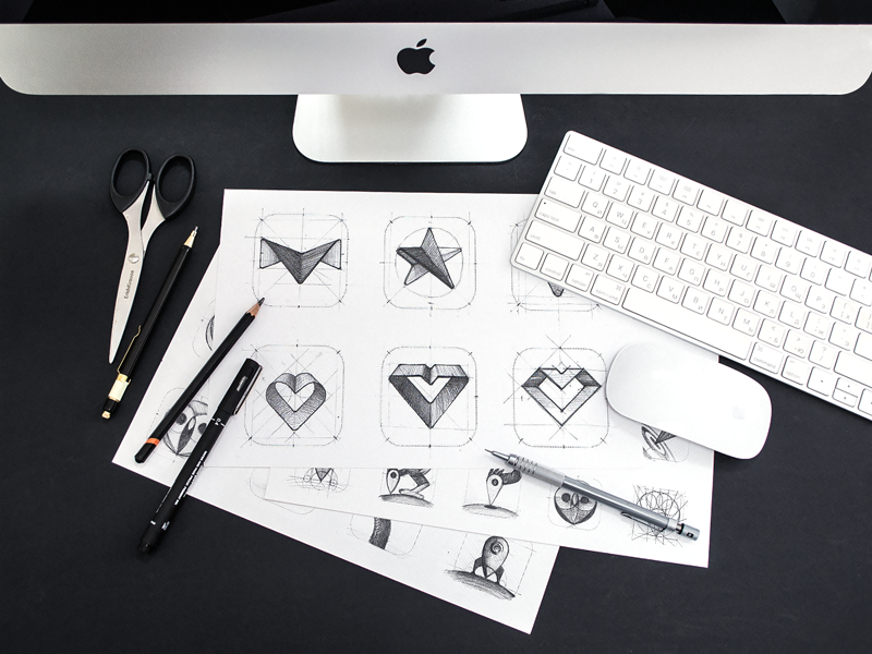 Social App Identity Sketches app icon sketches product identity brand exploration hand-drawn options app design process grid start heart sharp logo sketches app icon grid wip sign mark ios interface