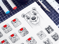 Osmo Pizza - Icon Sketches ios interface wip sign mark app icon grid app character sketches osmo brand identity grid consistency icon design process hand-drawn options mascot exploration ios product app icon sketches