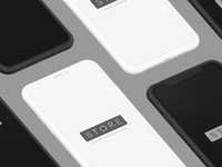 Iphone x clay black white isometric psd