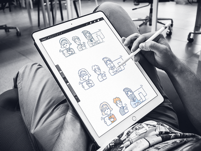 Behind the scenes user interface illustration website sections ui ux ipad pencil drawing behind the scenes shape exploration art cartoon user experience brand mascots hand-drawn characters illustration