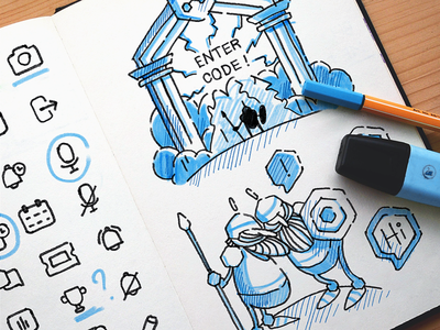 Plexchat Illustration Guideline [WIP] illustrations design code gaming theme icon artwork iconography graphic sketch illustration hand-drawn shapes hand sketch traditional art brand identity ios app design in-app support
