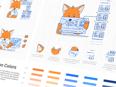 Iterable Brand Illustration Guides pictogram identity set illustrations guidelines website elements hand drawn sketches art consistency fox mascot ar cards color palette style guide design system