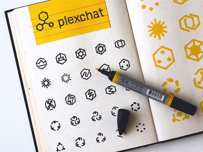 Plexchat icons, low fidelity sketches in-app support ios app design brand identity traditional art hand sketch hand-drawn shapes sketch illustration iconography graphic icon artwork design system illustrations icon design