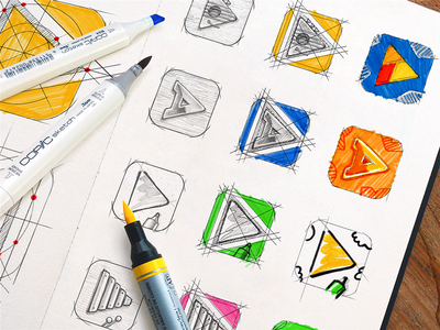 Sketches for Osmo App Icon app icon family ios app design consistent brand identity traditional art hand sketch hand-drawn shapes sketch illustration iconography graphic icon artwork design system illustrations icon design