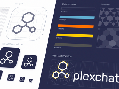 Plexchat Logo Guidelines illustrations icon design brand design system icon artwork iconography graphic construction sketch pattern grid ios app icon resolution asset sketch color system brand identity ios app design color theme