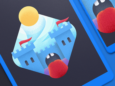 Castle Illustration - Crazy Edition illustration design travel magazine icon artwork iconography graphic lake picture high mountains castle sketch camping night brand illustration text label landing web site