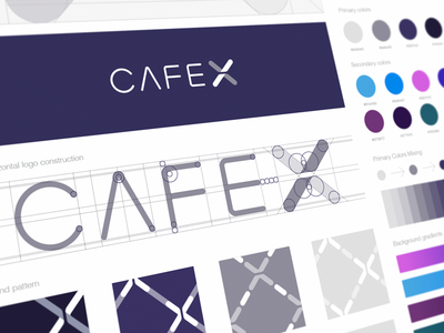 CafeX Identity Guidelines ios app coffee application app store icon branding identity brand book color exploration logotype logo style visual style guide construction symbol sign logo mark grid pattern color palette