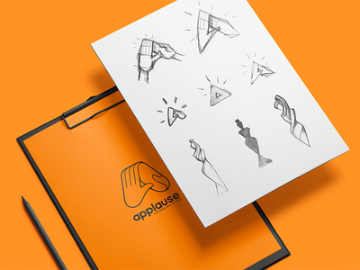 Applause Sketches sketch metaphor logotype logo design brand identity traditional art hand sketches shape hand clap brand product illustration iconography exploration icon artwork fitness workout theme ideas draft