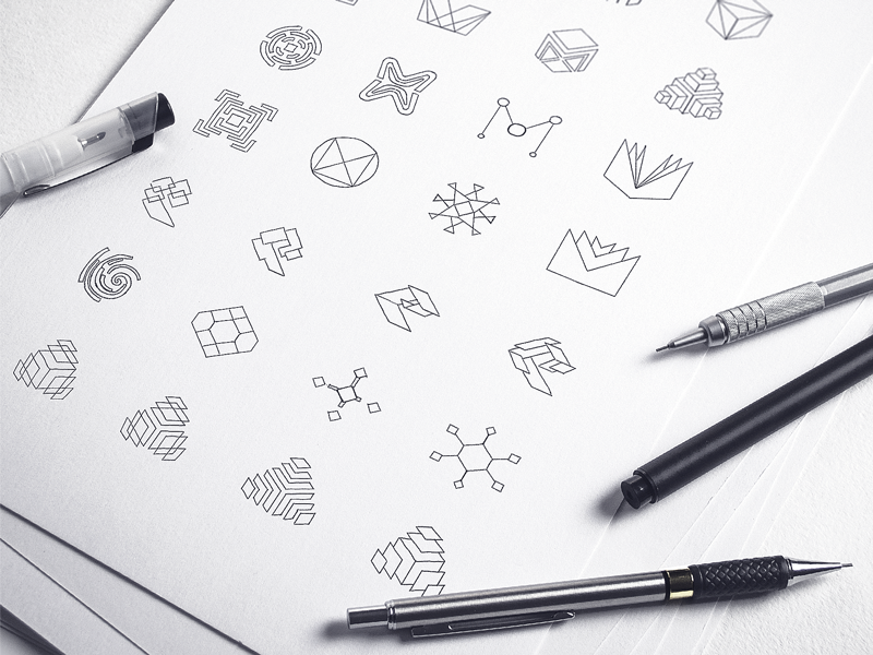 Logo design sketches mobingi by ramotion
