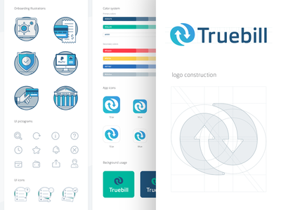Truebill Brand Guidelines ios app illustrations bill tracking application app store icon branding identity brand book grid color exploration logotype animation visual style guide wordmark symbol sign logo mark design logotype gradient arrow