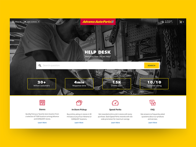 🏁 AAP Helpdesk Hero Section e-commerce product user experience ux ui responsive design layout automotive retailer product user experience web adaptive design system pictogram icon set prototype support navigation landing page concept auto part theme