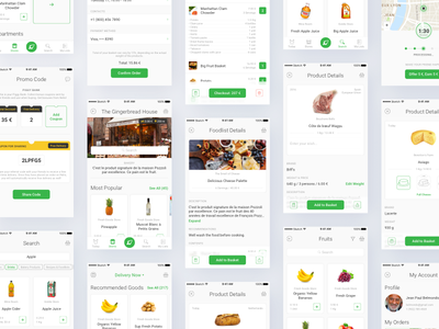 Nelio App User Interface ux ui workflow user interface user interaction user experience mobile app design food delivery application order delivery details interactive prototype mobile app experience clean interface account management app workflow