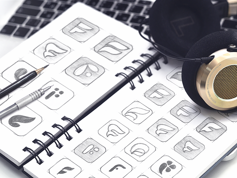 App Icon Sketches Early Stage early logo idea app icon sketch visual identity brandbook symbol sign branding feather f illustration grid traditional sharp grayscale combinations hand drawn art brand exploration concept mobile application ios app icon