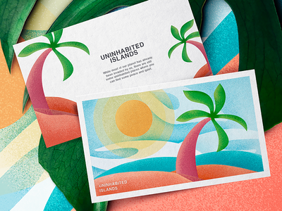 Illustrated Cards branded poster text copy label post card illustration uninhabited islands beach summer season ocean sea sun beach sky picture iconography graphic icon artwork travel magazine illustration design