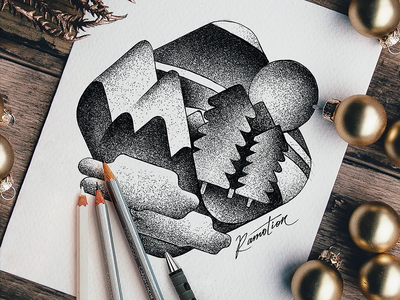 Merry Christmas 🎄 ink artwork new year eve christmas mood word mark hand sketches greyscale work pencil paper practice fun skill exploration drawing traditional art exploration sketch illustration tree dots mountain