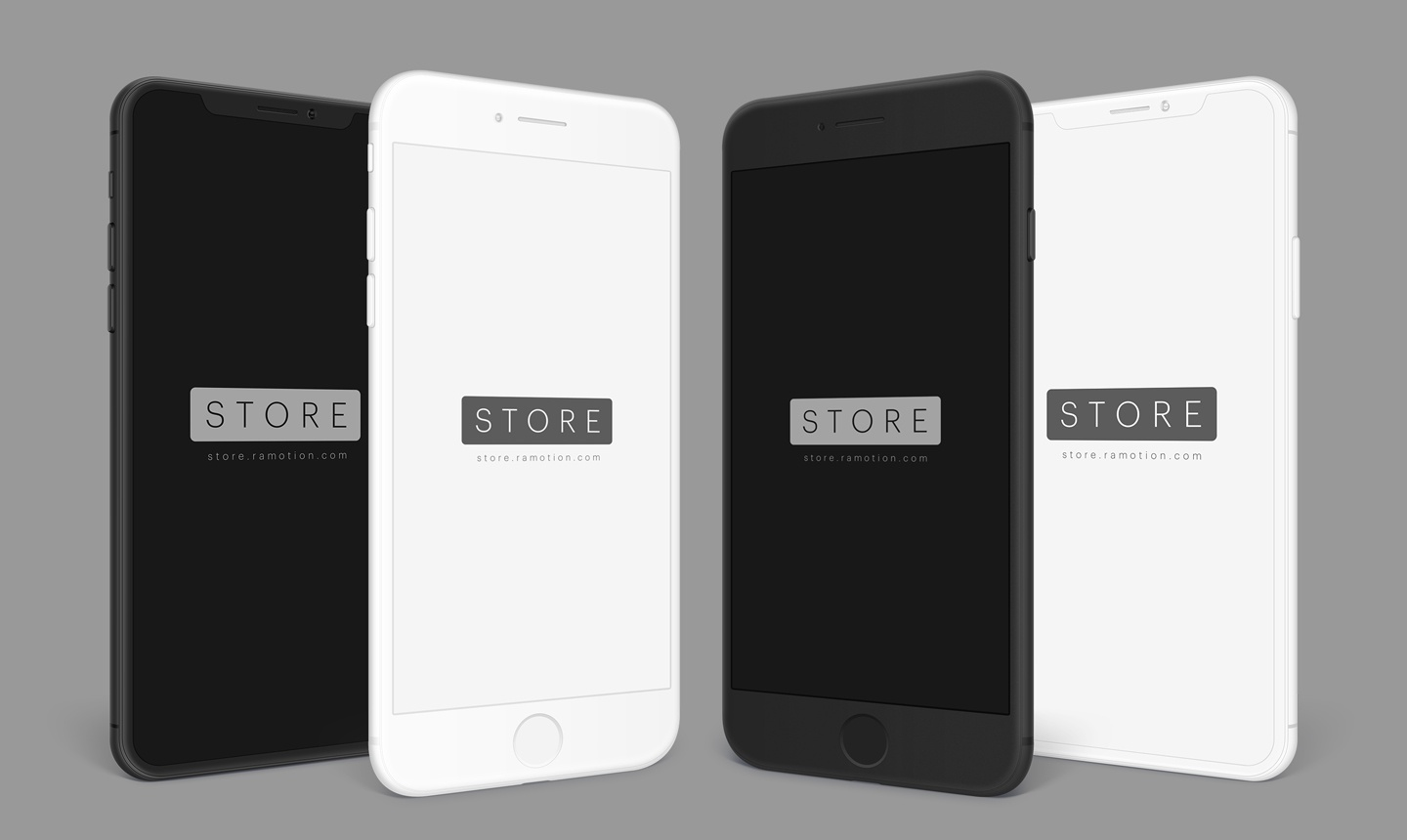 Iphone x 8 black white frontal clay portrait left right psd
