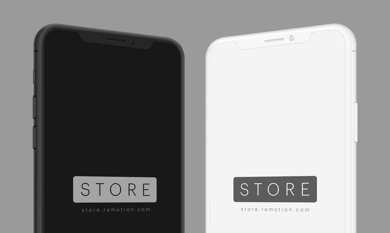 Iphone x black white portrait frontal clay portrait left right psd