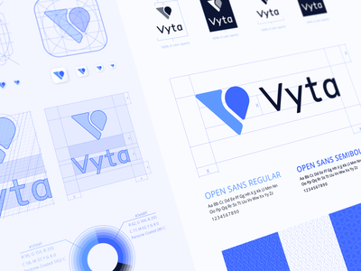 Vyta Style Guide fitness app brandbook iphone application icon location pin mark typeface logomark brand identity designer typography grid ios logo construction appstore product branding styleguide app book negative space color palette symbol logo sign