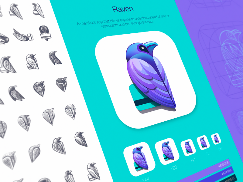 Raven Product Identity Design app logo color palette ios icon grid raven app book appstore product branding ios logo design brand identity designer credit card logomark color combination iphone application icon metaphor sketch art