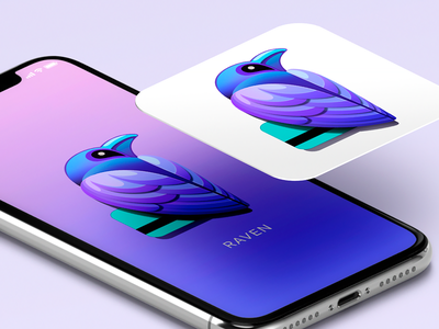 Raven App Icon & Splash Screen app concept iphone ui app screen ios ui template splash screen ui mobile app design design inspiration application icon animal illustration logomark visual identity raven logo creative logo gradient logo vector illustration app icon ui design app logo