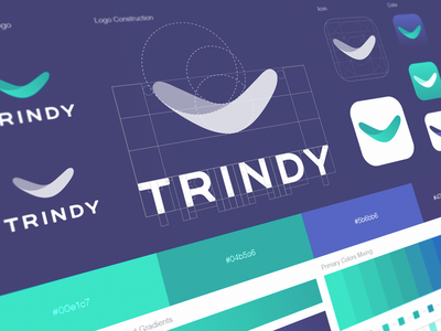 Trindy App Icon & Logo photo brandbook iphone application icon tick sign mark boomerang logomark brand identity designer typography grid ios logo design appstore product branding trindy app book negative space color palette logo