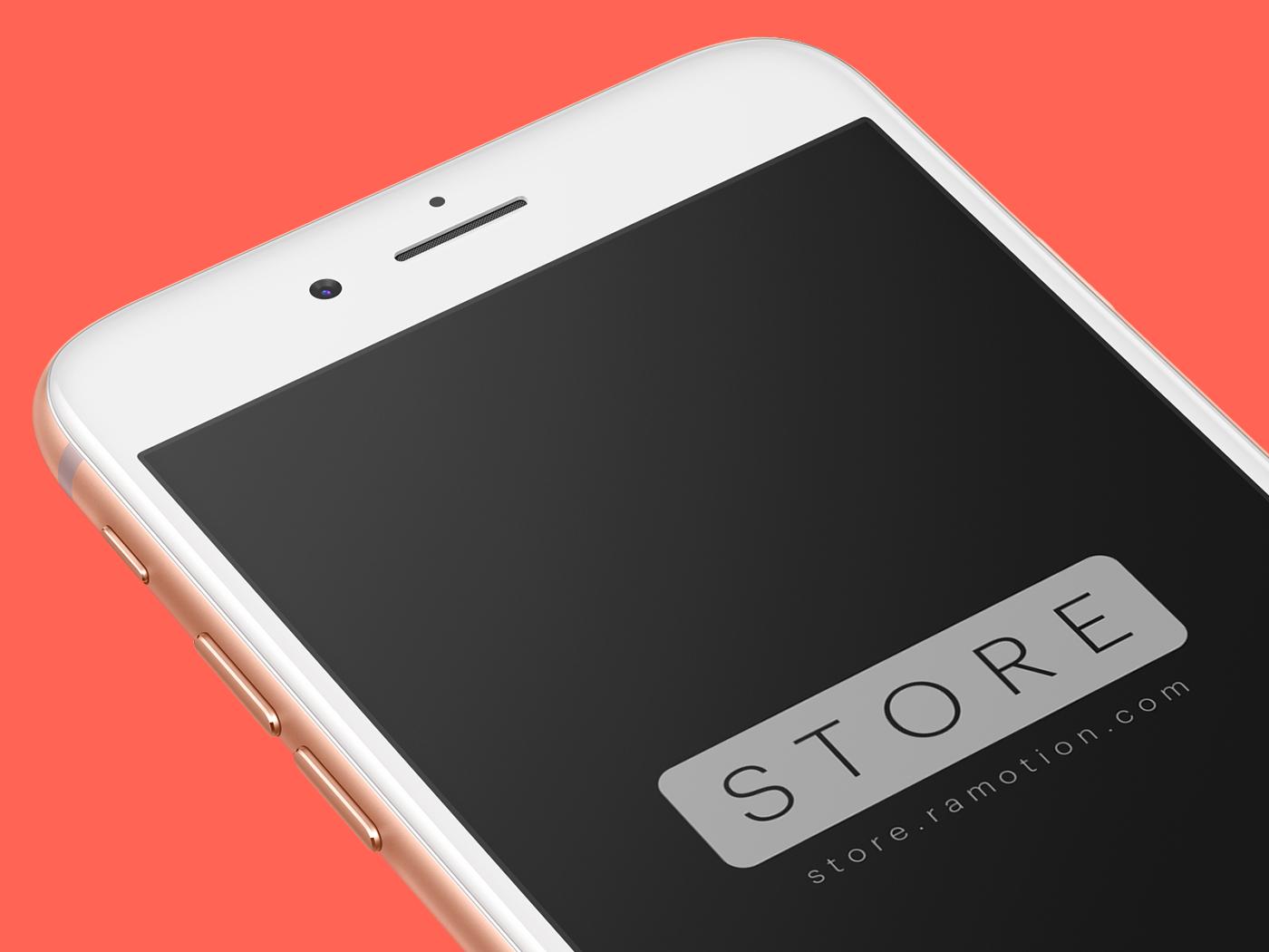 Iphone 8 gold pesrpective mockup template psd