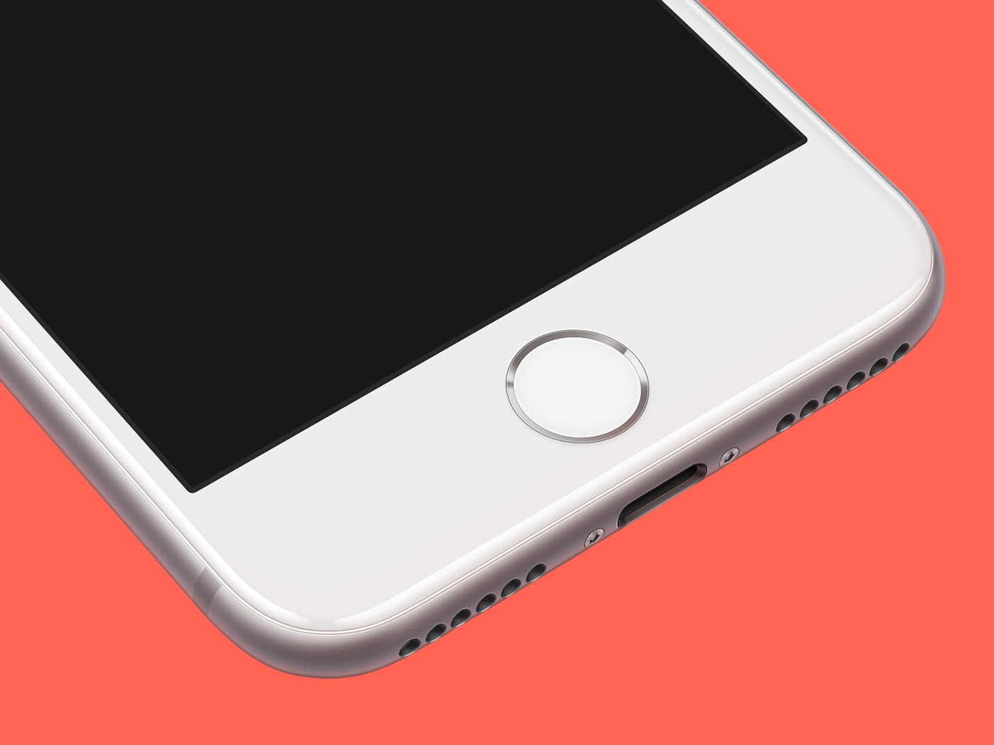 Iphone 8 silver pesrpective mockup template psd