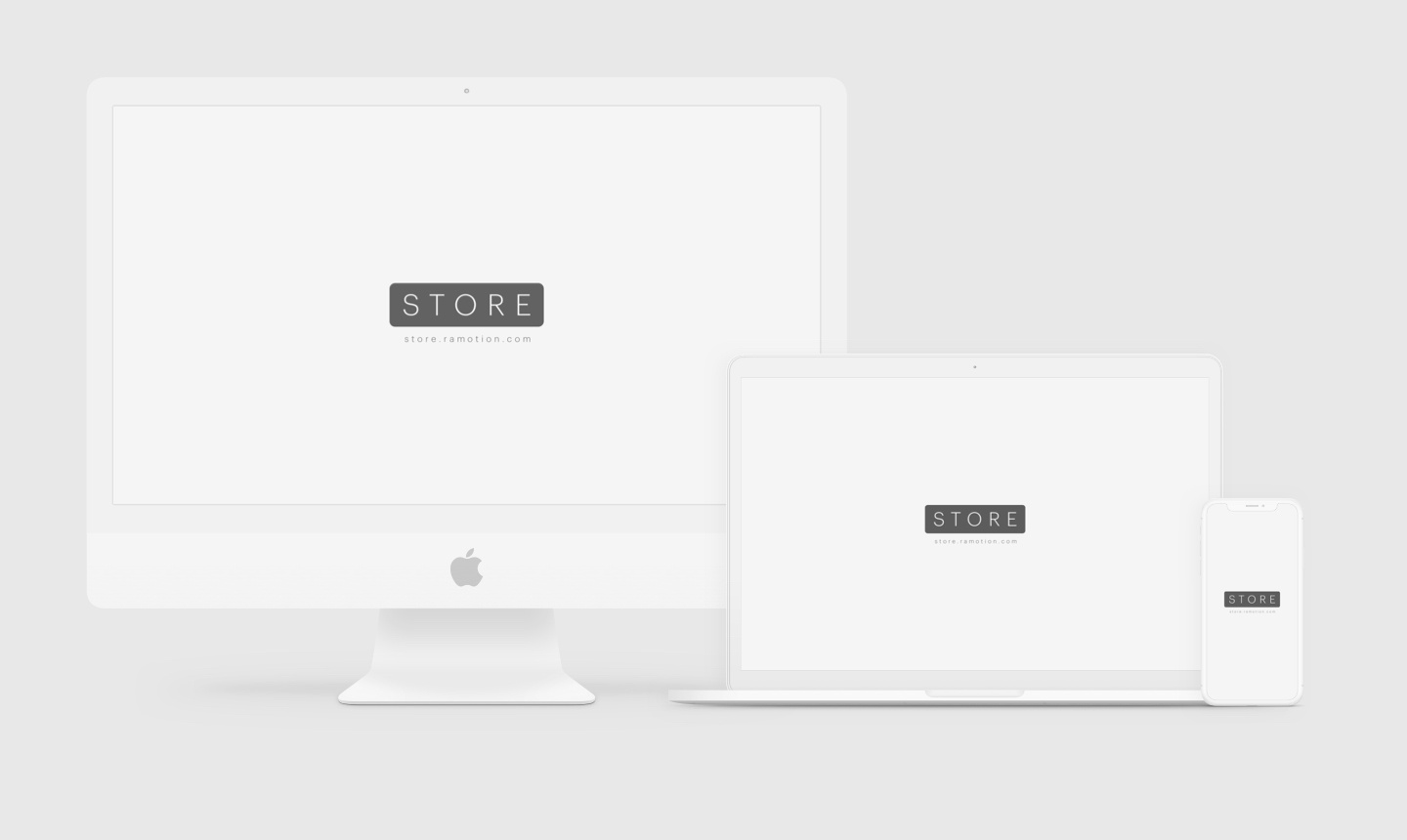 Imac iphone x macbook clay white frontal mockup sketch