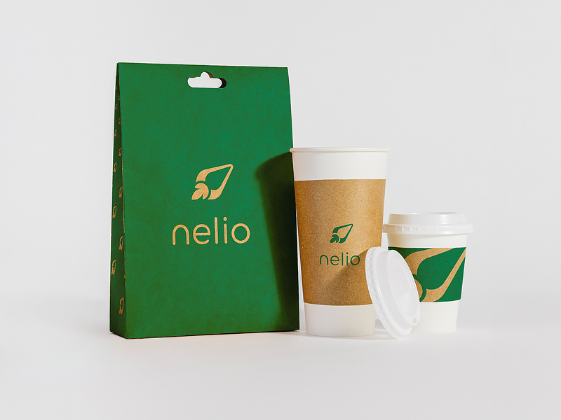 Nelio Brand Packaging coffee cup design color shapes illustration logo process final mark option logo mark usage greyscale color logotype packaging design final brand identity company style guide color palette branding project digital brand book