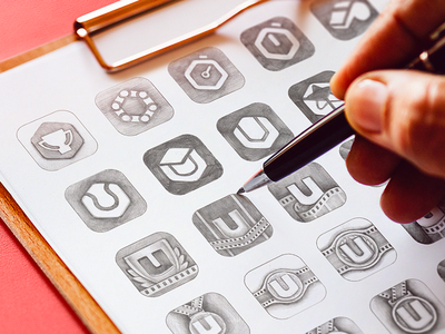 Ubersense App Icon Sketches ios app icon mobile application brand exploration concept hand drawn art grayscale combinations grid traditional sharp u letter illustration symbol sign branding visual identity app icon sketch early logo idea