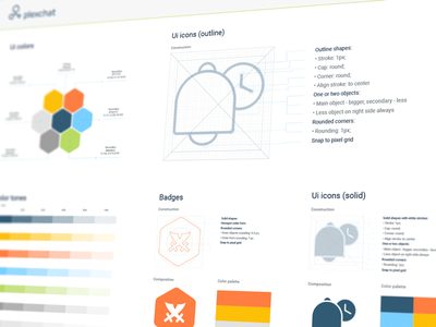 Plexchat Icons Guideline in-app support ios app design brand identity branding guide icons outline solid hand-drawn shapes consistent shape iconography graphic icon artwork design system illustrations icon design