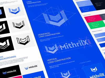 MithrilX Logo Grids and Style Guide logo construction brandbook color pallete padding geometric sign mark blockchain service logomark brand identity designer typography grid website logo design cryptocurrency website branding mithrix service brand clear background space primary color palette logotype wordmark