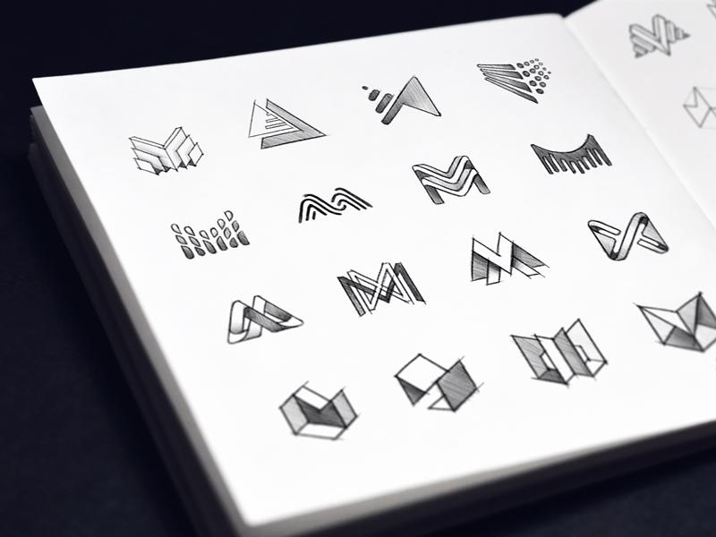Hand drawn sketches crypto blockchain company art design