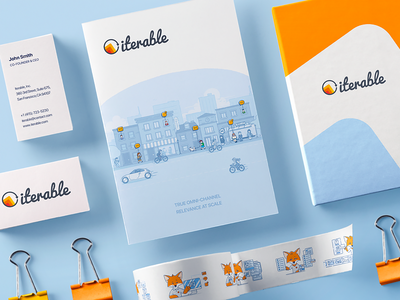 Iterable Brand Assets brand identity design branding logo brand assets branding style guide logo identity design system color palette fox employee mascot art consistency website illustration elements pictogram drawn set