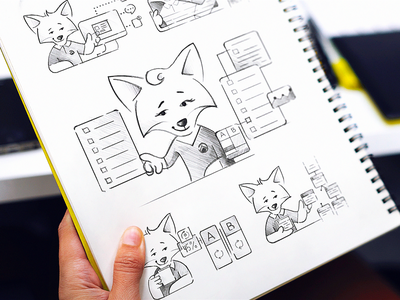 Iterable Mascot Sketches design system brand style guide grayscale exploration ar cards character fox employee mascot product consistency pencil art sketches website illustration elements mascot drawn set hand-drawn illustrations