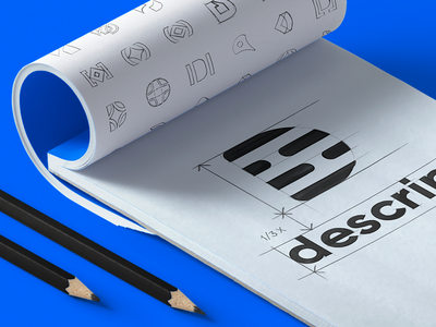 Descript Sketches Drawn Grid brand identity work rounded sharp shapes marketing material final logotype option logo mark logotype preview simple draft options brand identity exploration presentation work color palette branding project drawn grid padding