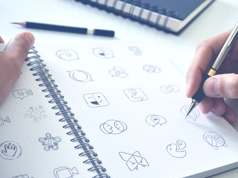 Hand-drawn Logo Options logo construction brandbook bubble emoji playful fun sign mark chat service logomark brand identity designer traditional art shapes sketching logo design video chat branding justalk application brand hand-drawn options draft shape exploration logotype symbol mark
