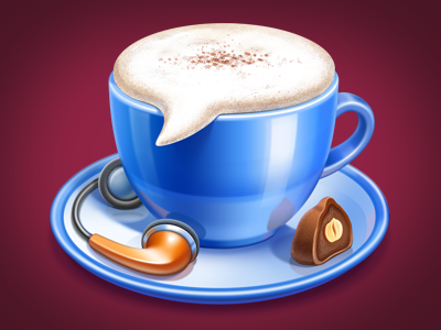 iChat ramotion icon icons illustration design cup mug ichat chat communication candy sweet mac macos headphones stereophones music chocolate pottery nut