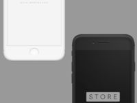 Iphone 8 clay black white frontal portrait psd
