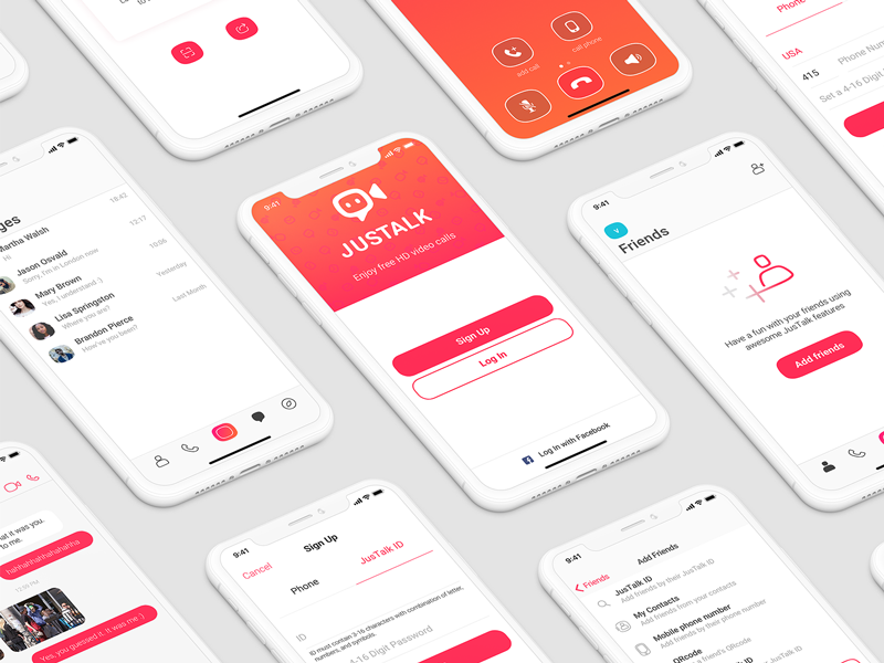 Justalk mobile user interface ux ui
