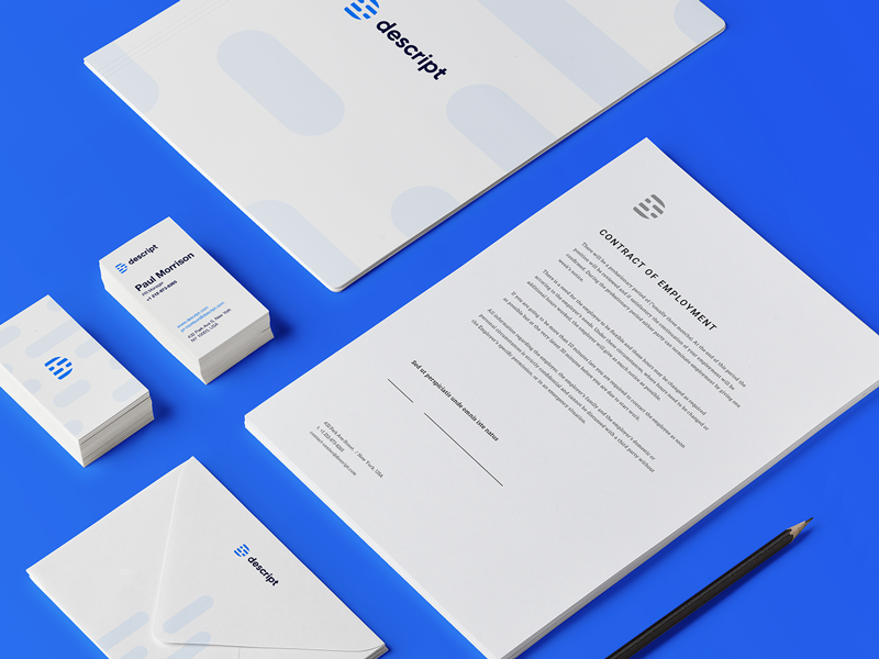 Descript Branding Materials brand identity work rounded sharp shapes marketing material final logotype option logo mark usage logotype wordmark assets swag example final brand identity presentation work color palette branding project brand book assets