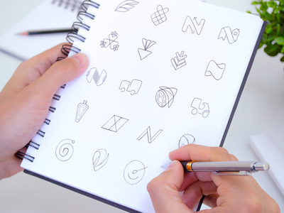 Early Hand-Sketches Branding for Nelio food delivery service mobile application brand exploration concept hand drawn art grayscale combinations car letter arrow metaphor carrot rocket symbol sign branding visual identity brandbook app icon sketch early logo idea