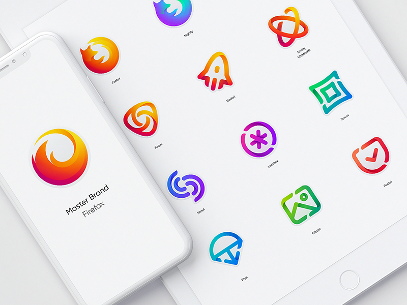 Firefox Rebrand color exploration icons mozilla branding identity ios app iconography web browser branding app store icon brand book grid master brand family visual style guide firefox symbol sign logo mark design logotype fox shape